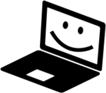 notebook,laptop,smile,pc,computer,black and white