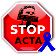 acta,censorship,internet,freedom,blue ribbon,blue,ribbon,stop,sign