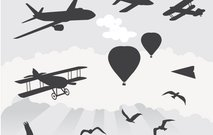 background,nature,object,airplane,flying,hot,air,ballon,bird,paper,plane