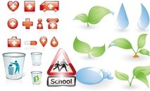 set,of,different,environmental,icon,red,medical,glossy,shiny,school,sign,glass,bin