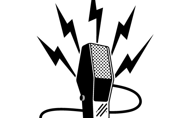 Vector Illustration Of Retro Microphone Light Silhouette On White.. Royalty  Free Cliparts, Vectors, And Stock Illustration. Image 95914538.