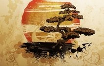 abstract,illustration,sun,tree,bonsai,nature,japan,japanese,art,sunset