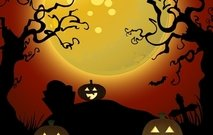 creepy,halloween,spooky,tree,moon,full,horror,scene,pumpkin
