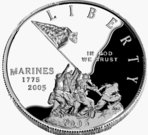 25cents-usa-coin,2005,silver,penny,marine,liberty,soldier,flag
