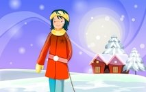 christmas,xmas,girl,sled,cottage,winter,home,mountain,snow,snowfield,covered,jacket,holiday,season,seasonal