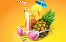 tropical,cocktail,drink,pineapple,fruit,orange,twist,yellow,rum,straw,umbrella,shade,wrist,anklet,bead,bracelet
