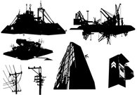 power,line,building,ship,messy,rooftop,scenery,urban,illustration