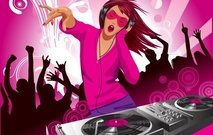 illustration,music,trend,graphic,dj,disc,jockey,deejay,girl,lady,party,event,turntable,spin,techno,pink,dance,dancing,headset,jam,jamming,dancer