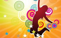 colorful,girl,illustration,jump,star,abstract,object,streak,shine,person,lady,jumping