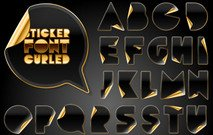 black,gold,letter,alphabet,element,misc,object