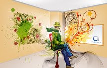 3d,illustration,man,room,painting,swirl,draw,splat,floral,flower,artwork