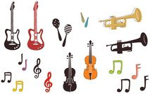 music,note,scale,guitar,trumpet,shaker,bass,baho,bajo,bugle