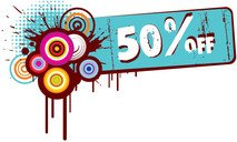 discount,shopping,banner,retro,splat,grungy,grunge,element,illustration,off,50%