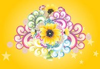 flower,floral,background,orange,yellow,color,colorful,swirl,abstract