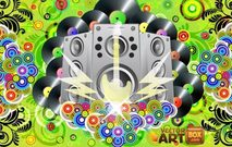 poster,wallpaper,background,music,musical,speaker,subwoofer,sound,system,guitar,electric,electricity,thunder,lightning,circle,retro,vintage,swirl,leaf,wreath,track,vinyl,record,recording,star,starry