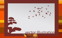illustration,frame,scenery,nature,bird,flying,flight,tree,background,backdrop,abstract