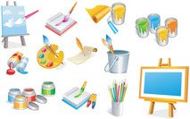icon,element,art,object,clipart:,paint,dye,color,easel,brush,water-based,watercolour,desk