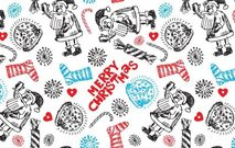 pattern,seamless,christmas,xmas,santa,claus,reindeer,gift,wrapper,holiday,candy,cane,sweet,sock,hand,drawn,star,ice,snowflake,winter
