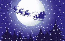 christmas,eve,santa,sleigh,reindeer,rudolph,rudolf,tree,moon,full,pine,snow,winter,season,seasonal,yearly,yultide