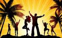 beach,party,evening,people,silhouette,celebrate,celebration
