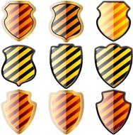 shield,danger,stripe,set,heraldic,security,secure,warning,defend,fend,defense,set