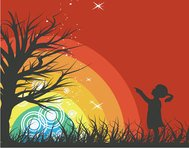 people,girl,tree,rainbow,red,sillhouette,rainbow