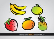 fruit,orange,banana,pineapple,lemon,strawberry,cartoon,drawn