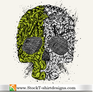 skull,t-shirt design,tee design,skull,t-shirt,design,tee,shirt,tshirt,element,abstract,green,gray,pattern