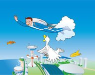 old,illustration,cartoon,flying,boy,jetpack,airport,helipad,futuristic,duck,goose,old,illustration,cartoon