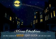 sleigh,xmas,night,christmas eve,christmas night,city,vector open stock,santa,claus,holiday