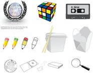 rubiks,cassette,pencil,takeout,box,jewel,arrow,search,magnify,globe