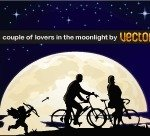 couple,lover,moonlight,bicycle,tree,night,park,cupid,cupid  arrow,star,silhouette,love,bike,moon,sky,background,composition,palm,contrast,cupid\'s,arrow,walk,blue,yellow,white