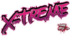 x treme,extreme,tommy brix,magenta,black,white,type,text,typography,tag