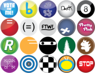 button,tree,t rex,checkered,vote,black and white,pink,circle