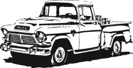 pick up,car,gmc,black and white