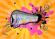 tren,colorido,brillante,arte pop,remolino