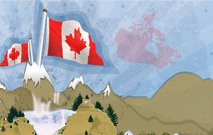canada,mountain,flag,postcard,background,canadian,deer,waterfall,fall,landscape,waterfall
