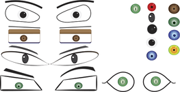 evil eye,angel eye,red,green,blue eyebrow,eye,character,cartoon,face