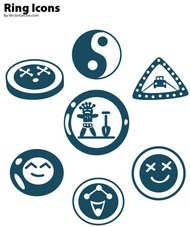 ring,smile,cooky,road sign,yin yang,shovel,icon