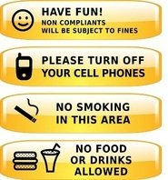no smoking,no food allowed,be happy,turn off cell phon,sign,area sign,yellow sign,symbol