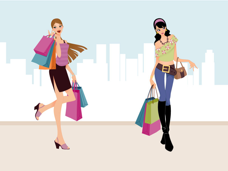 Fashion Shopping Girl Clip Art