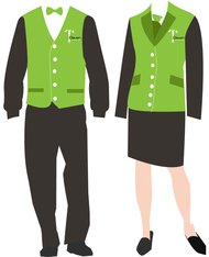 shoe,green vest,grey pant,bow tie,clothing,fashion,uniform,waiter,staff uniform,waitress