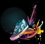 abstract,circle,colourful,culture,guitar,shoe,urban,music,trend,vector,graphic,sneaker,misc,object,background,pop,rock