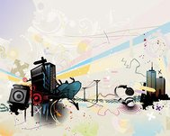 abstract,background,city,headphone,illustration,music,trend,graphic,illustration,music,trend,vector,graphic