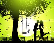 autumn leaf,fence,silhouette,swing,tree,twilight