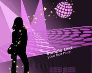 dance,disco ball,girl,night,purple,silhouette