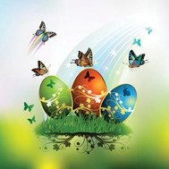 butterfly,card,decorated,easter,egg,grass,green
