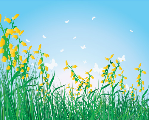 Free Vector Grass Flowers Isolated Sky Background Cliparts Clipart