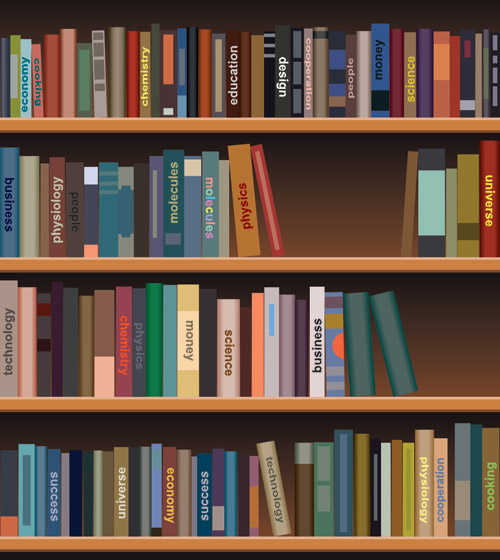 Bookshelf vector illustration clip arts, free clip art ...