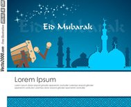 card,drum,eid mubarak,eps 10,greeting,mosque,star